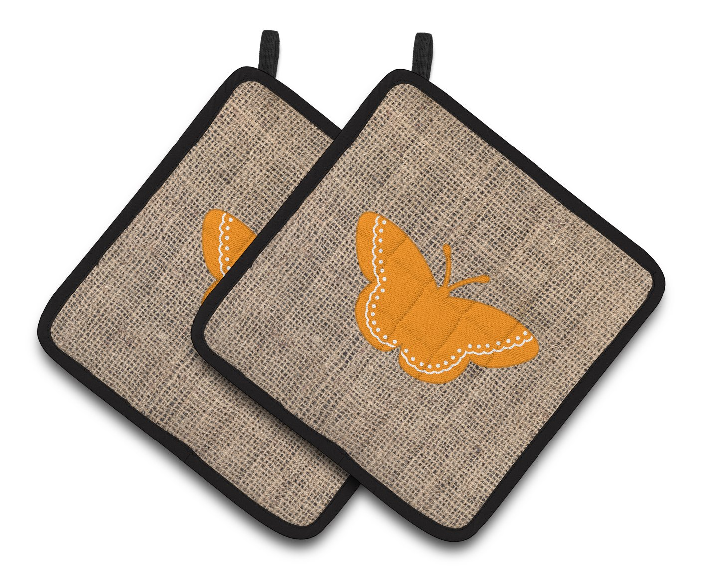 Carolines Treasures Butterfly Faux Burlap /& Orange Pair of Pot Holders BB1032-BL-OR-PTHD 7.5HX7.5W Multicolor