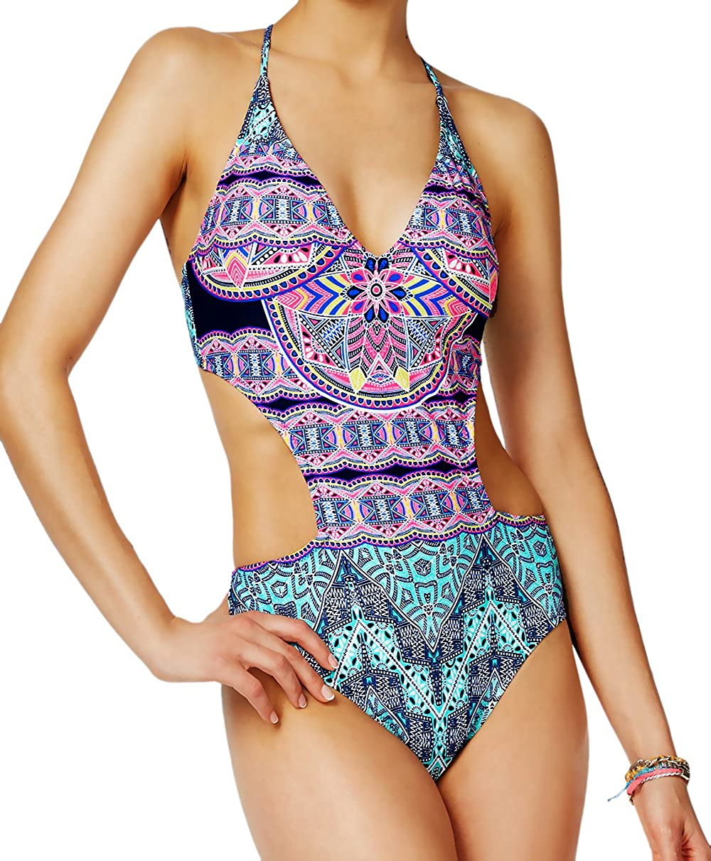 a73a47c1d47d9 One Piece Bathing Suit with V-Neck Style & Skinny Cross Back Straps Sexy Cut  Out Design at Waist Mojave Tribal Print in Purple and Green