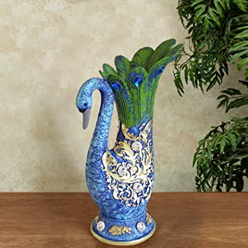 Buy Tied Ribbons Peacock Shape Flower Vase Pot Decorative Piece For Living Room Drawing Room Table Home Office Gifts Multicolor Resin Online At Low Prices In India Amazon In