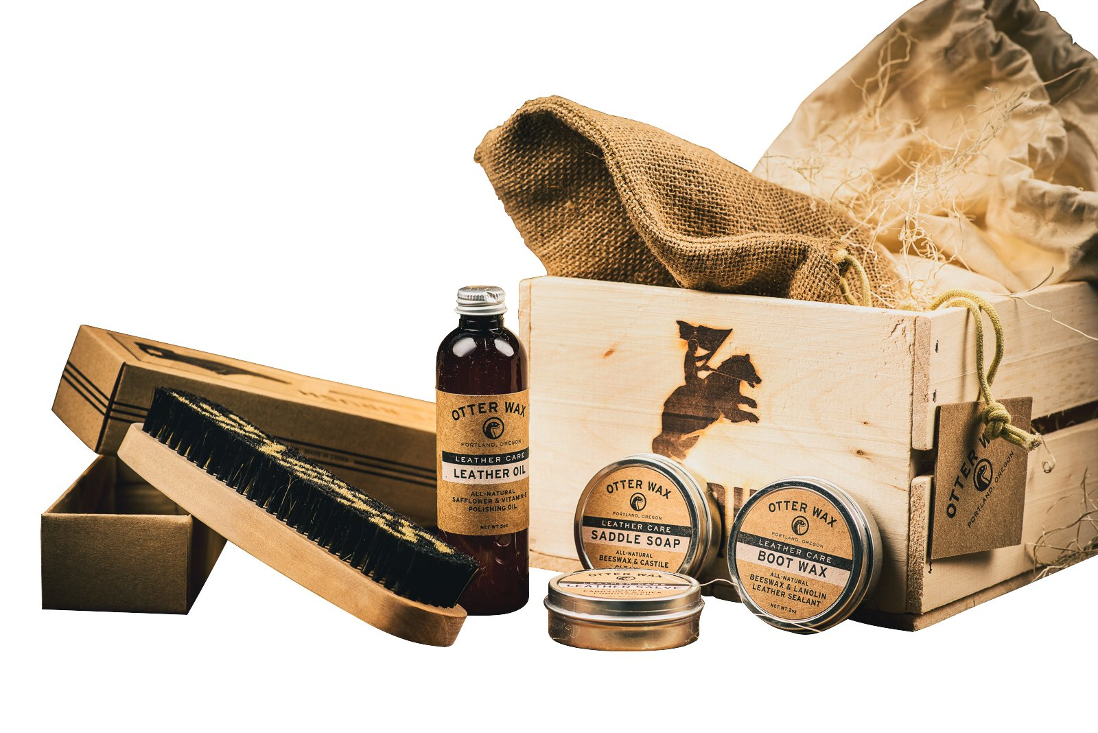Leather Shoe Care Gift Set (Travel Shoe Shine Kit) - Comes in A Wooden Gift Crate - Great Gift for Men