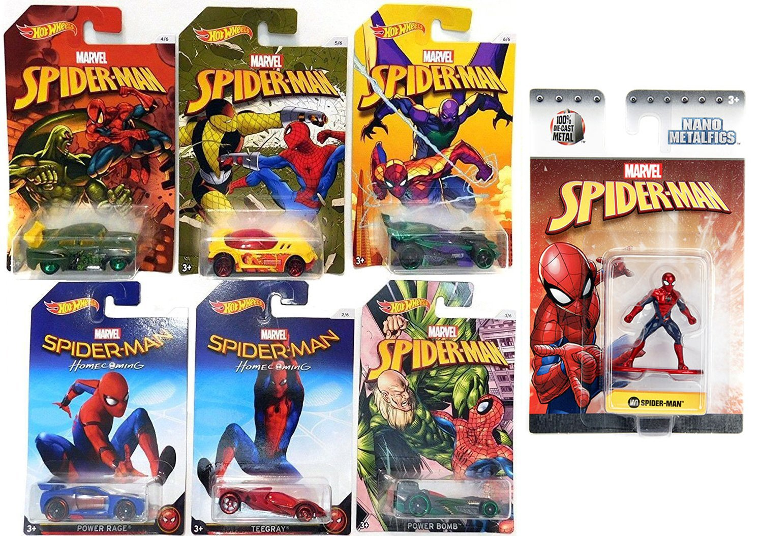 7bc900a2 Amazon.com: Hot Wheels Marvel Spider-Man Homecoming Movie Exclusive set  Collectible 6 car bundle & Marvel Nano Metalfigs Spider-Man 1.5-Inch Diecast  Figure ...