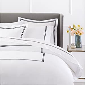 Pinzon 400 Thread Count Egyptian Cotton Sateen Hotel Stitch Duvet Cover - King, Black