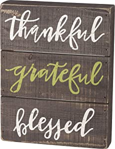 Primitives by Kathy 39269 Fall Slat Box Sign, 7 x 9-Inch, Thankful - Grateful- Blessed