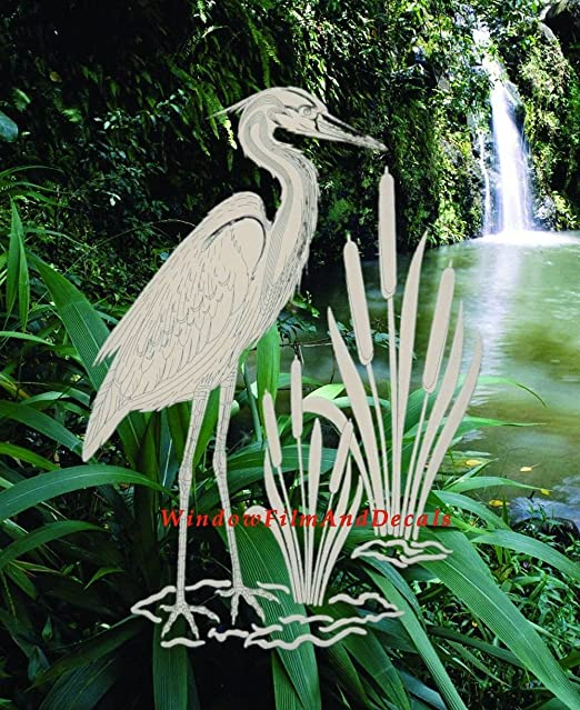 Clear with White Design Elements Egret /& Cattails Left Oval Etched Window Decal Vinyl Glass Cling 15 x 23