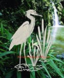 """Egret & Cattails Left Oval Etched Window Decal Vinyl Glass Cling - 8"""" x 12"""" - Clear with White Design Elements"""