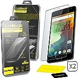 CaseBase® Premium ** OnePlus 2 ** Pellicola protettiva per Display in Vetro Temperato - Confezione doppia per OnePlus Two ** ** 2 in 1 ** **