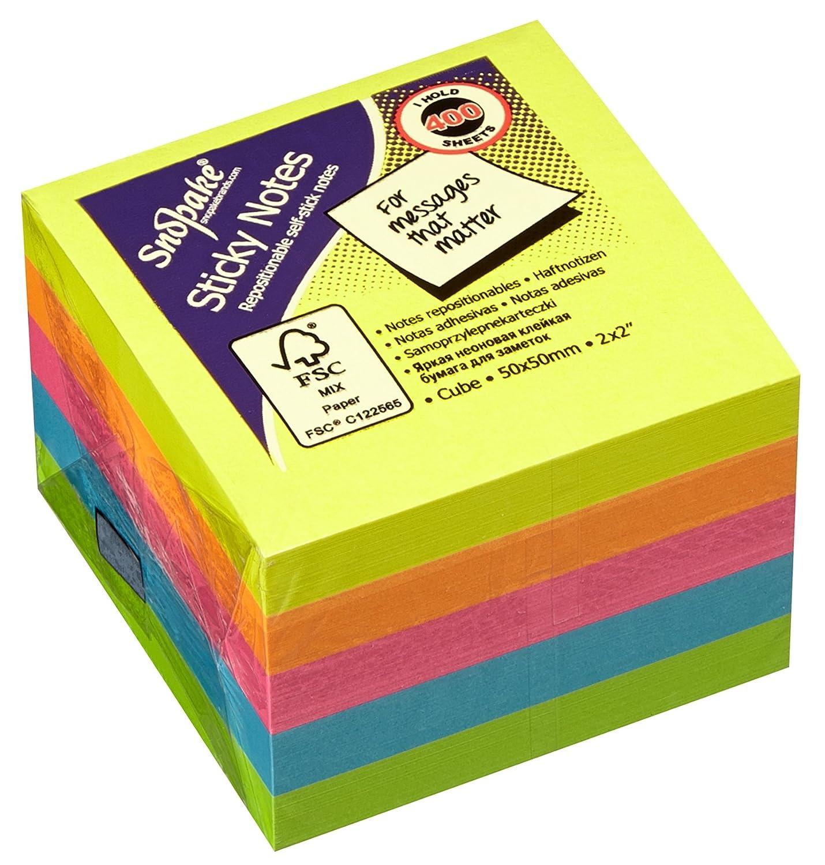 Snopake - Cubo di foglietti promemoria con retro adesivo, 51 x 51 mm, 24 pezzi, colori fluorescenti assortiti Snopake Ltd 13223