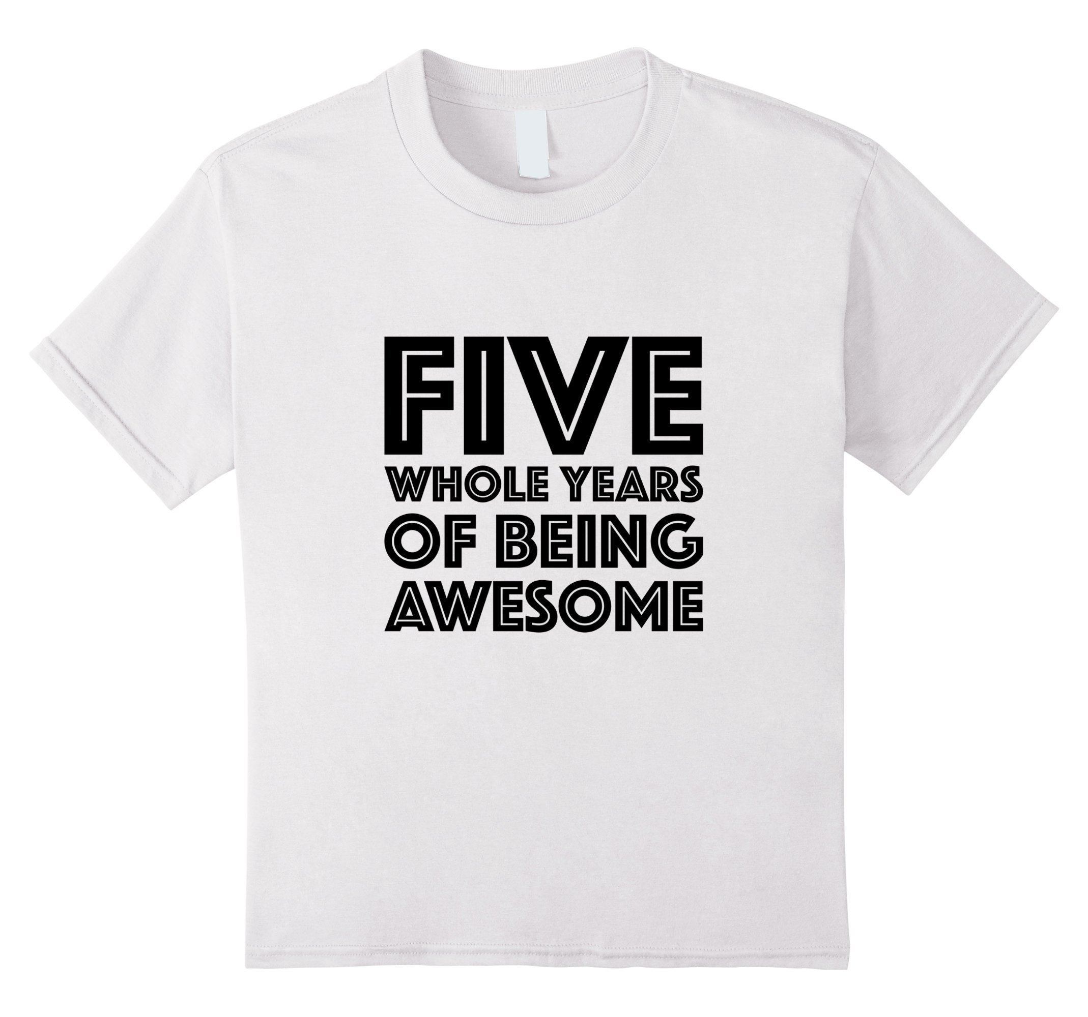 Kids 5th Birthday Shirt Gift Age 5 Five Year Old Boy Girl Tshirt 10 White