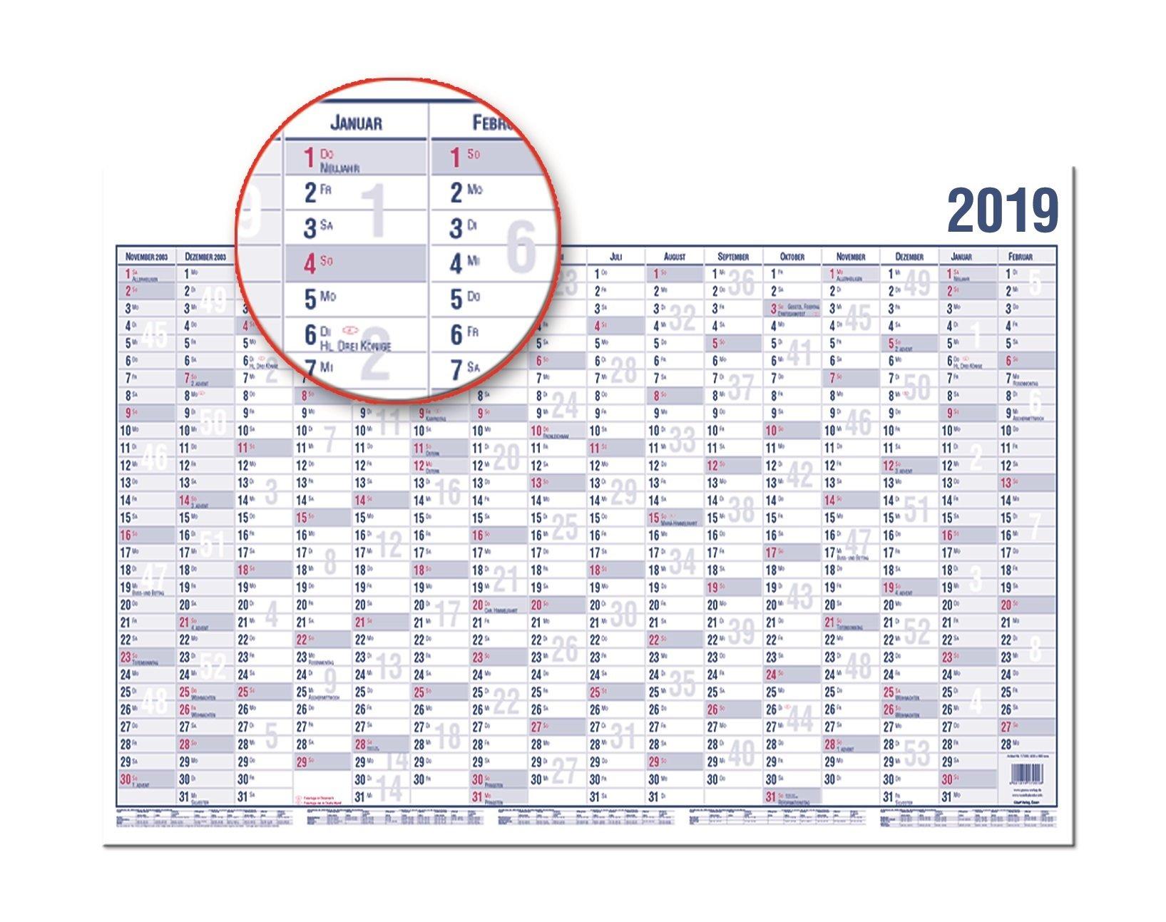 GÜSS® Wandplaner 2019, Nr. 16000, Ferien-, Sonn- und Feiertage gerastert,DIN A0, 16 Monate, 170g Papier, Größe: 120cm x 84cm, 2-farbiger Druck,