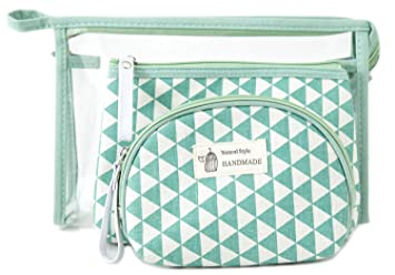 4725fda3f8b2 Amazon.com   Zhoma 3 Piece Cosmetic Bag Set - Makeup Bags And Travel Case -  Mint Green   Beauty