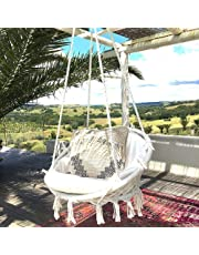 JKsmart Swing&Hanging Chair,Knitted by Cotton Rope with Romantic Fringes Macrame Hammock Swing Chair for Indoor/Outdoor, Patio, Deck, Yard, Garden,Bar,265 Pounds Capacity(White)