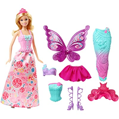 Barbie Doll with 3 Fairytale Outfits and Fantasy Accessories: Toys & Games
