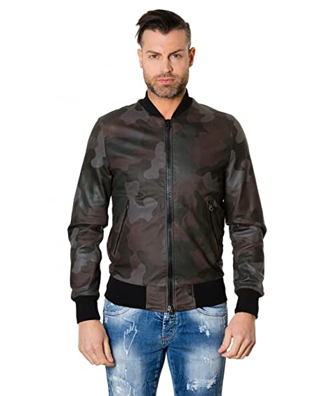 1fc2c43f6c755 D'Arienzo College • Green Colour Camouflage • Leather Bomber Jacket Smooth  Aspect - 48