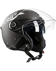 Westt® Jet · Casque Moto Jet Double Visière pour Scooter Chopper en Noir Mat · Casque de Moto Homme et Femme Demi-Jet · ECE Homologué