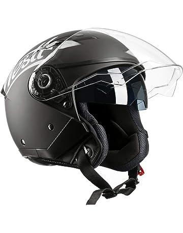 Westt® Jet · Casco Moto Jet Abierto para Motocicleta Ciclomotor y Scooter  con Doble Visera 84941aec161