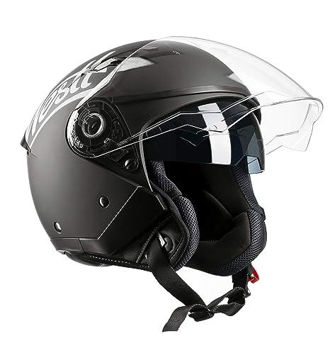 Westt® Jet · Casco Moto Jet Abierto para Motocicleta Ciclomotor y Scooter con Doble Visera