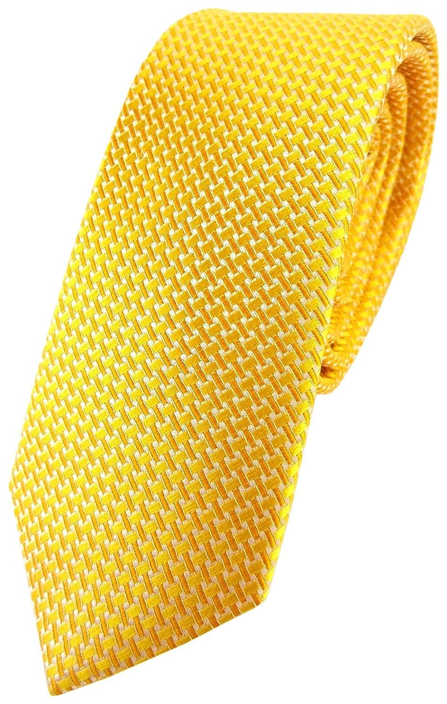 TigerTie - corbata de seda estrecha - amarillo dalias amarillas ...