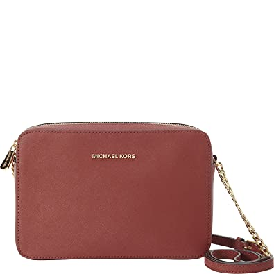 1ca4e4d183865 MICHAEL Michael Kors Jet Set Travel Large Saffiano Leather Crossbody (Brick)