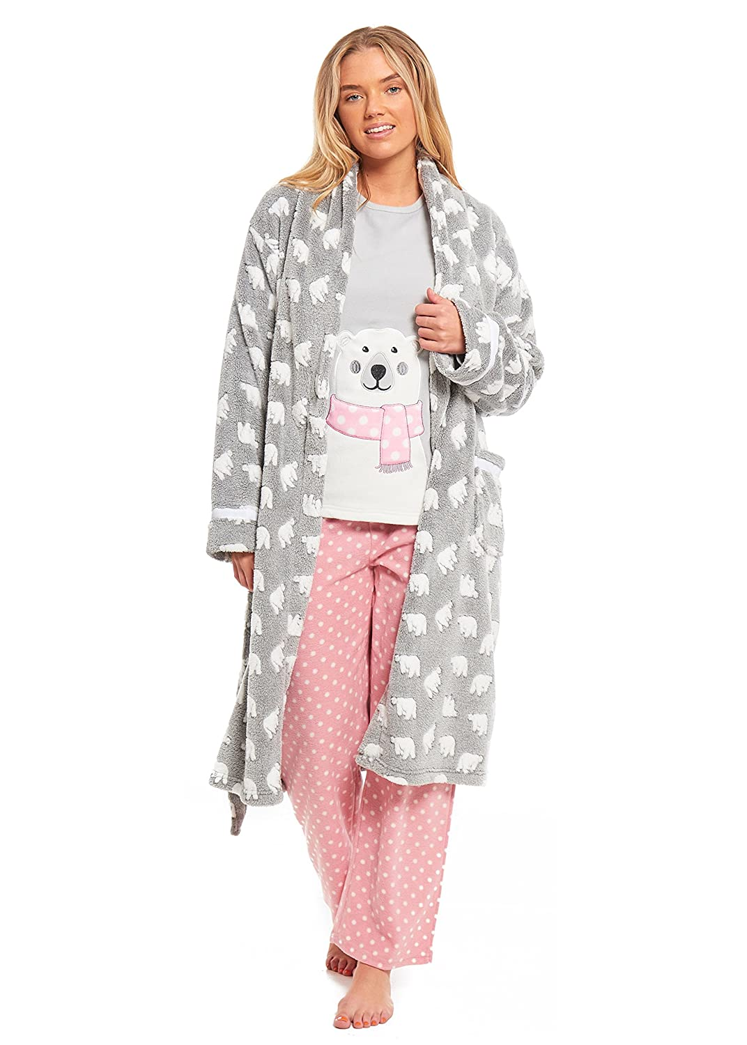 MyShoeStore Ladies Bear Dressing Gown Pyjamas Set Womens Polar Micro Fleece Nightwear PJS Lounge Wear Bathrobe Warm Night Wear Long Sleeve Top Bottoms Pants Shawl Neck Wrap Bath Robe House Coat