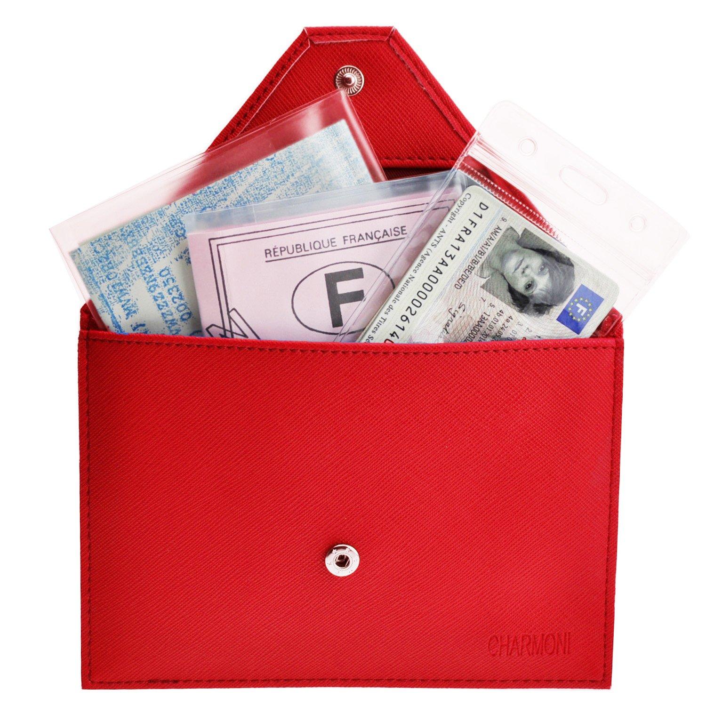 Charmoni Porte Papiers De Voiture Enveloppe à Bouton Pression Permis De Conduire La Carte Grise En Aspect Cuir Saffiano Mazlum