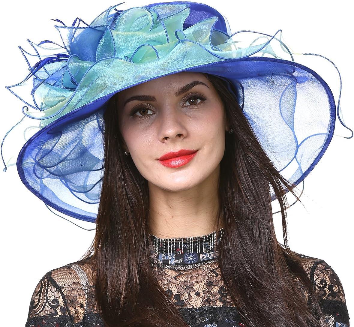 Sombrero de vestido de novia de la iglesia Derby de ala ancha para mujer