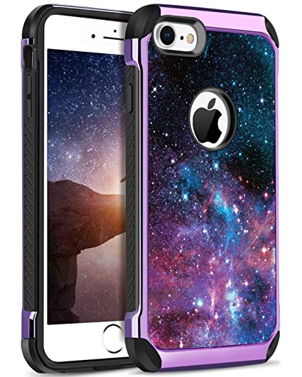 best sneakers e6461 2c144 DOMAVER Case for iPhone 8/7, Galaxy Nebula Stars Girls Boys Women Men Cover  Dual Layer Hard PC Soft Rubber full body Shockproof Protective Durable ...
