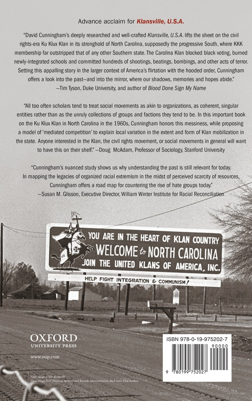 Klansville U S A The Rise And Fall Of The Civil Rights Era Ku Klux Klan Amazon Co Uk David Cunningham 9780199752027 Books