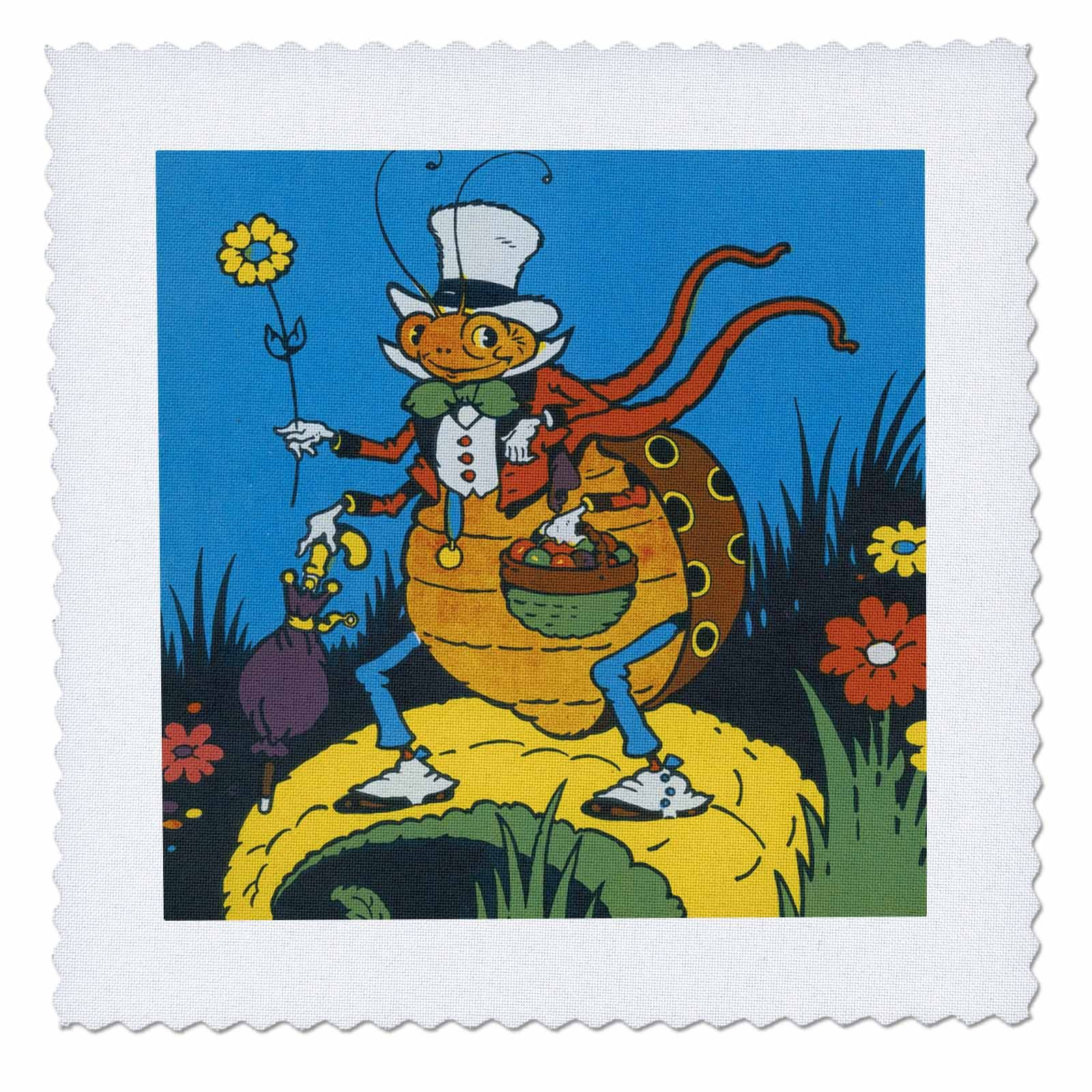 3dRose TNMPastPerfect Animals - Silly Ladys Man Bug - 20x20 inch quilt square (qs_280650_8)