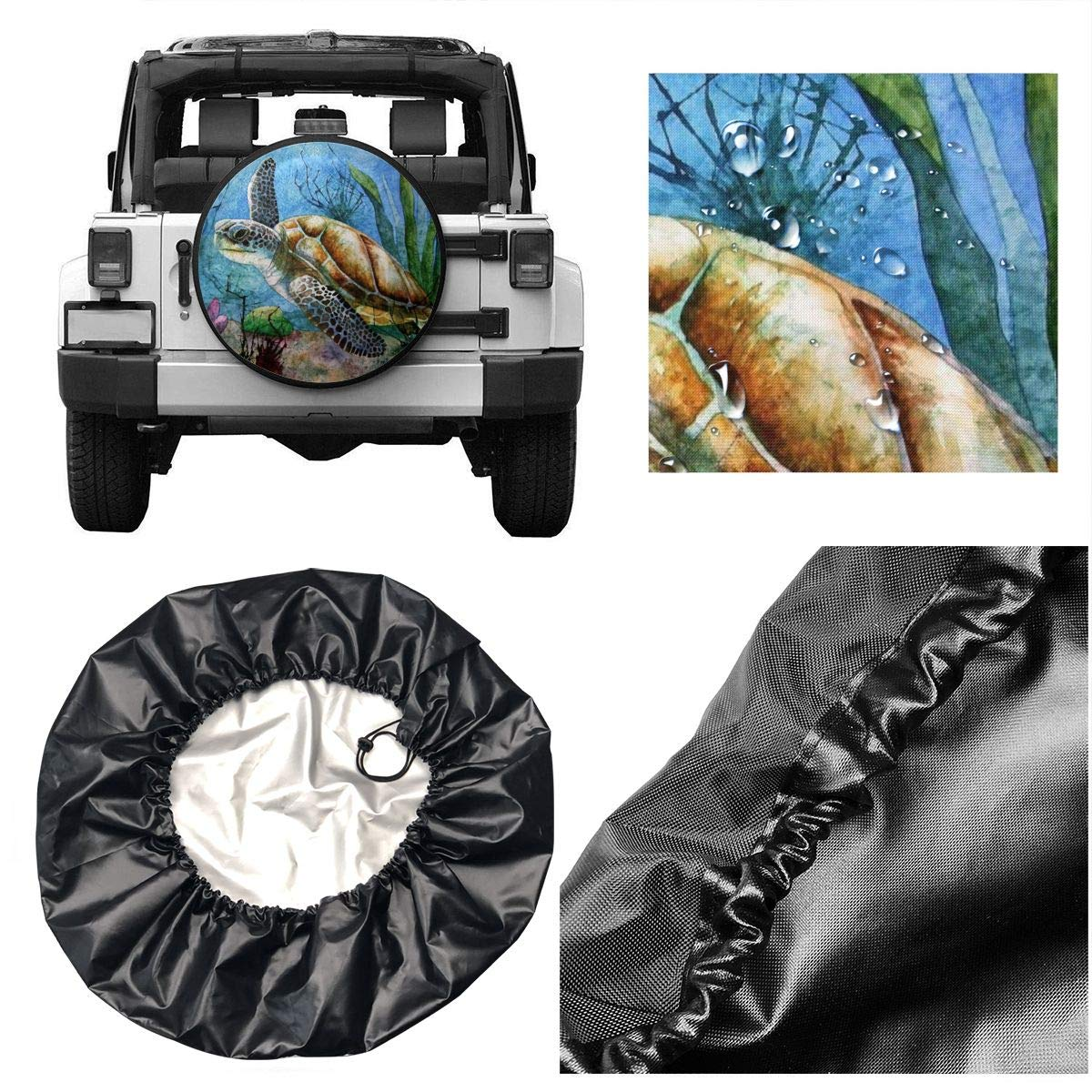 Beelit Sea Turtle Watercolor Spare Tire Cover Waterproof Dust-Proof Universal Spare Wheel Tire Cover Fit for Jeep Trailer RV SUV and Many Vehicle 14 15 16 17Wheel Diameter 27-29