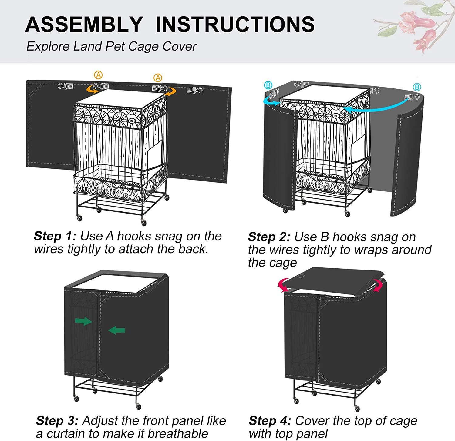 Explore Land Pet Cage Cover with Removable Top Panel Good Night Cover for Bird Critter Cat Cage to Small Animal Privacy /& Comfort
