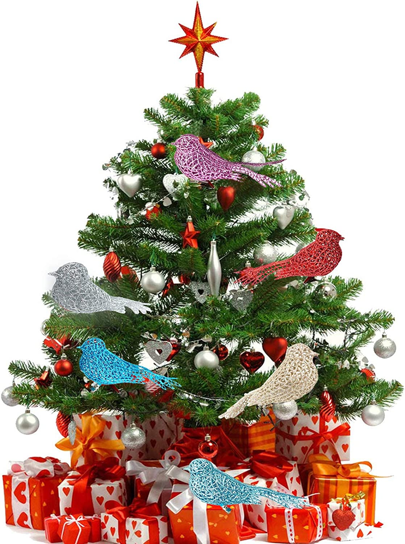OHJ 6PCS Artificial Birds Clip-Christmas Tree Ornament Decorations-Arts and Crafts-Metal Hanging Ornaments for Easter Tree, Christmas, and Seasonal Decor