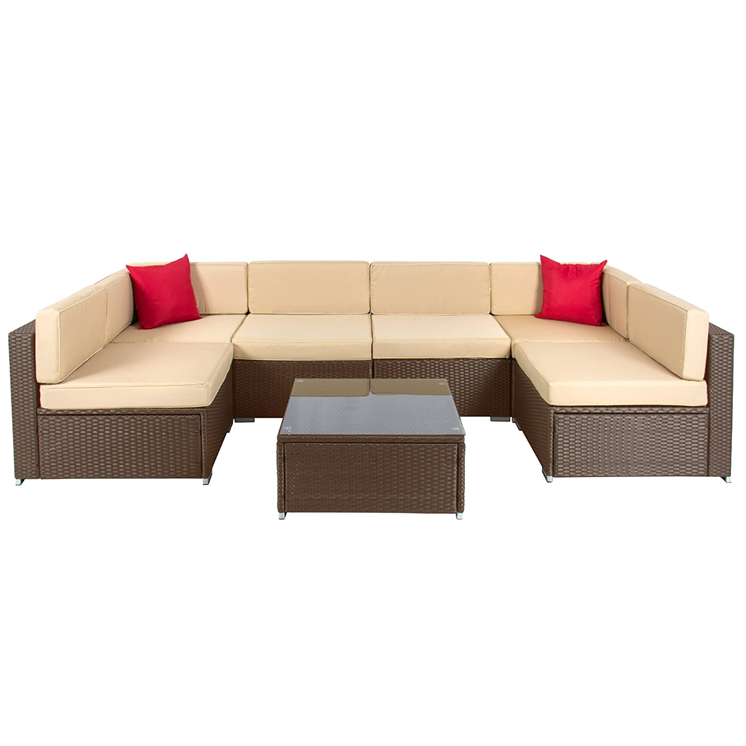 amazoncom best choice products 7pc furniture sectional pe wicker rattan sofa set deck couch brown garden outdoor