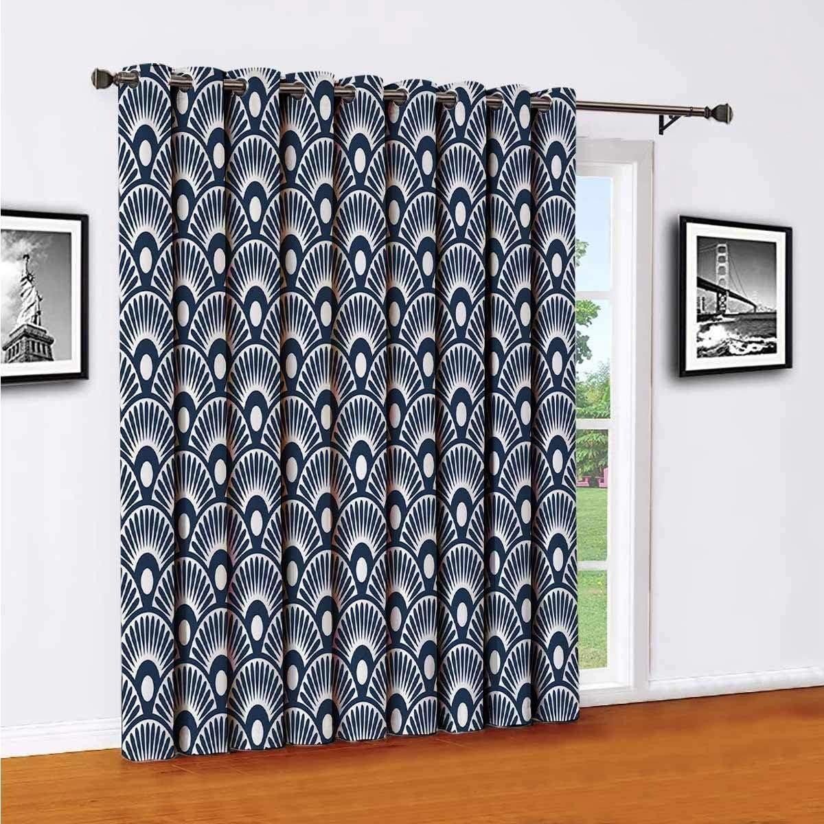 Toopeek - Cortinas opacas de poliéster con diseño de abanico, adecuadas para puertas correderas de cristal para sala de estar, cortinas térmicas de 96 x 96 pulgadas