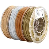 AMOLEN PLA 3D Printer Filament, 1.75mm, Set with Bronze, Marble, Wood, Shining Gold, Each Spool 225g, 4 Spools Pack