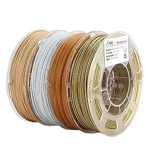 AMOLEN PLA 3D Printer Filament, 1.75mm, Set with Bronze, Marble, Wood, Shining Gold, Each Spool 225g, 4 Spools Pack
