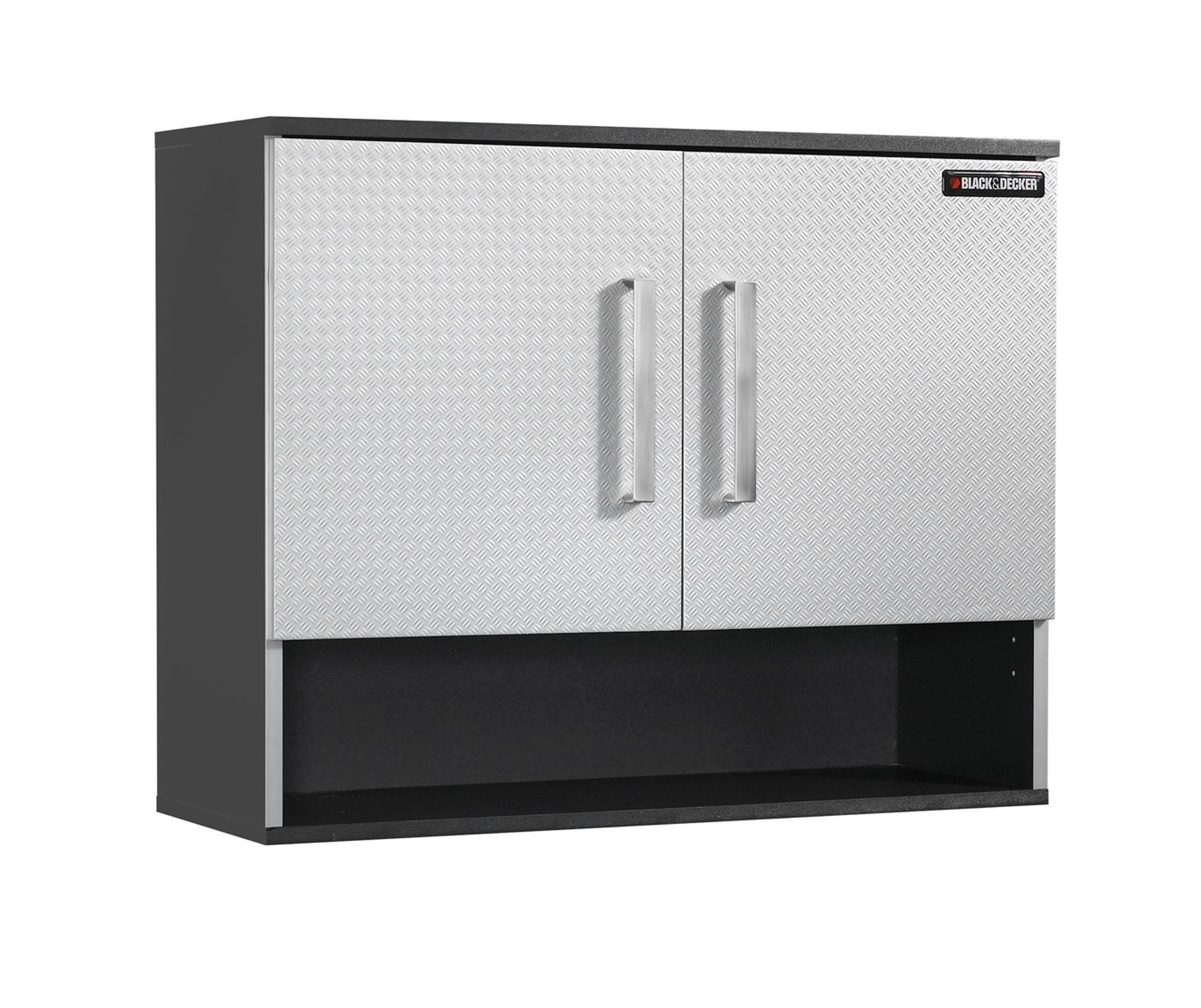 Homestar Black & Decker Linen Open Shelf Wall Cabinet , 31.25'' x 11.75'' x 24.88'', Charcoal Stipple