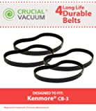 4 Replacements for Kenmore CB-3 Smooth Belts Fit PowerMate Canisters, Compatible With Part # 20-5218, by Think Crucial