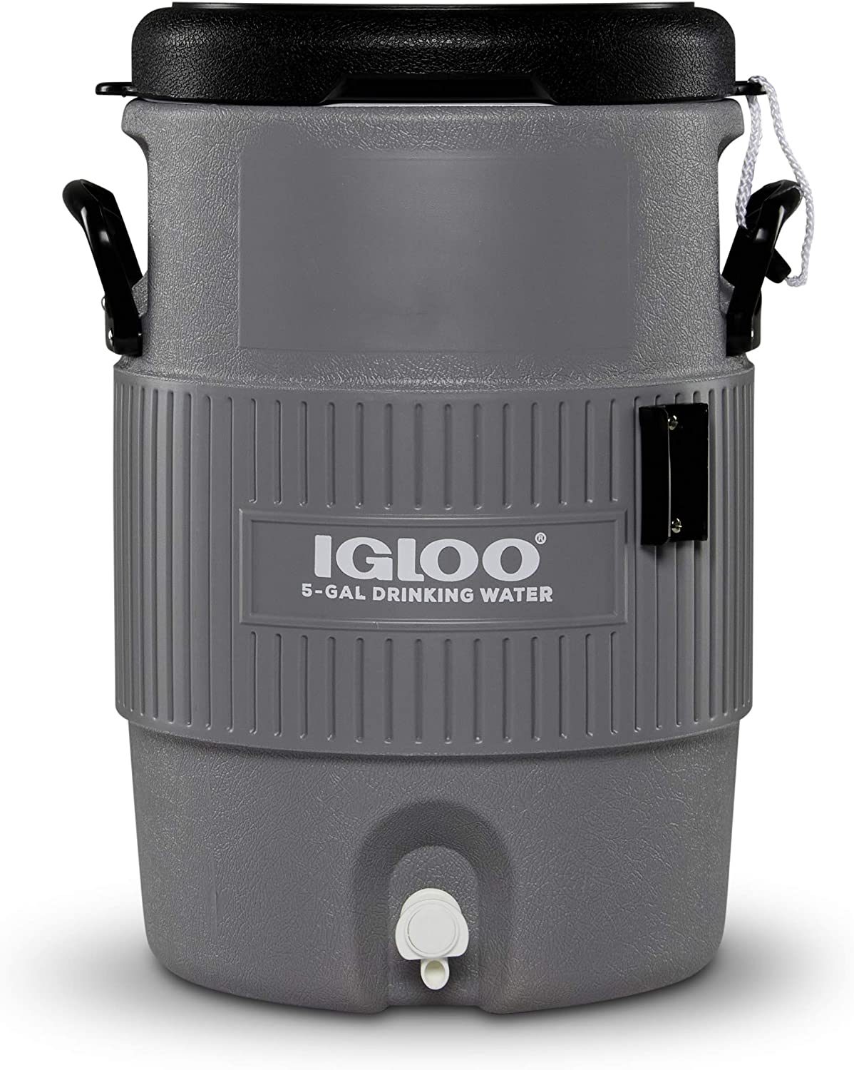 Igloo 5 Gallon Portable Sports Cooler Water Beverage Dispenser with Flat Seat Lid, Gray, 4 Qt