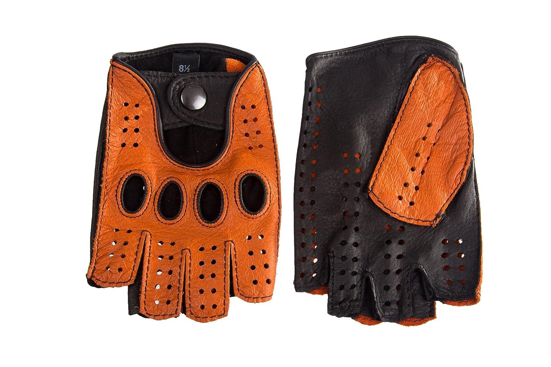 Hungant Herren Autofahrer Handschuhe Radfahrhandschuhe Aus Leder Orange Braun