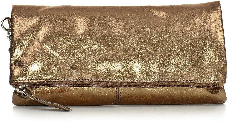 CNTMP, Damen Handtaschen, Clutch, Clutches, Clutchbags, Unterarmtaschen, Partybags, Trend-Bags, Metallic, Leder Tasche, 25x13x2,5cm (B x H x T), Farbe:Anthrazit 3523