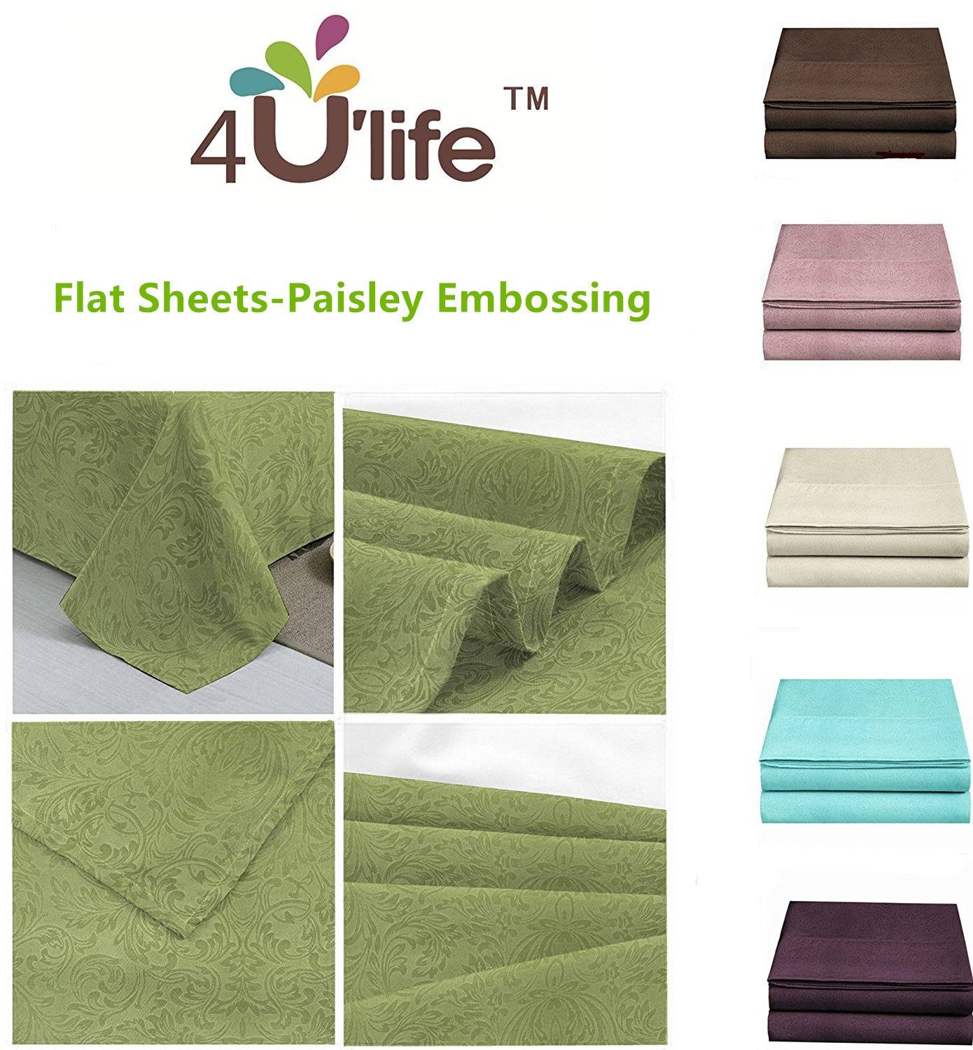4ULIFE Flat Sheet-Luxury Paisley Embossed, Good looking, Breathable,Ultra Soft & Comfortable (Full, Dusty Pink)