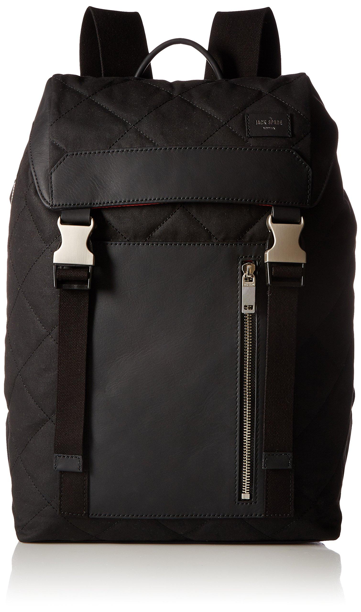 Jack Spade Men's Quilted Waxwear Army Backpack, Black