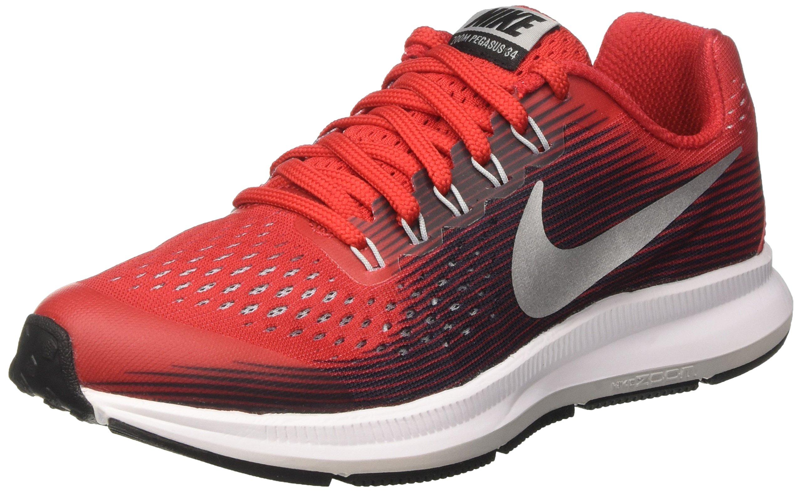 Nike Kids Zoom Pegasus 34 GS, University Red / Metallic Silver, Youth Size 7