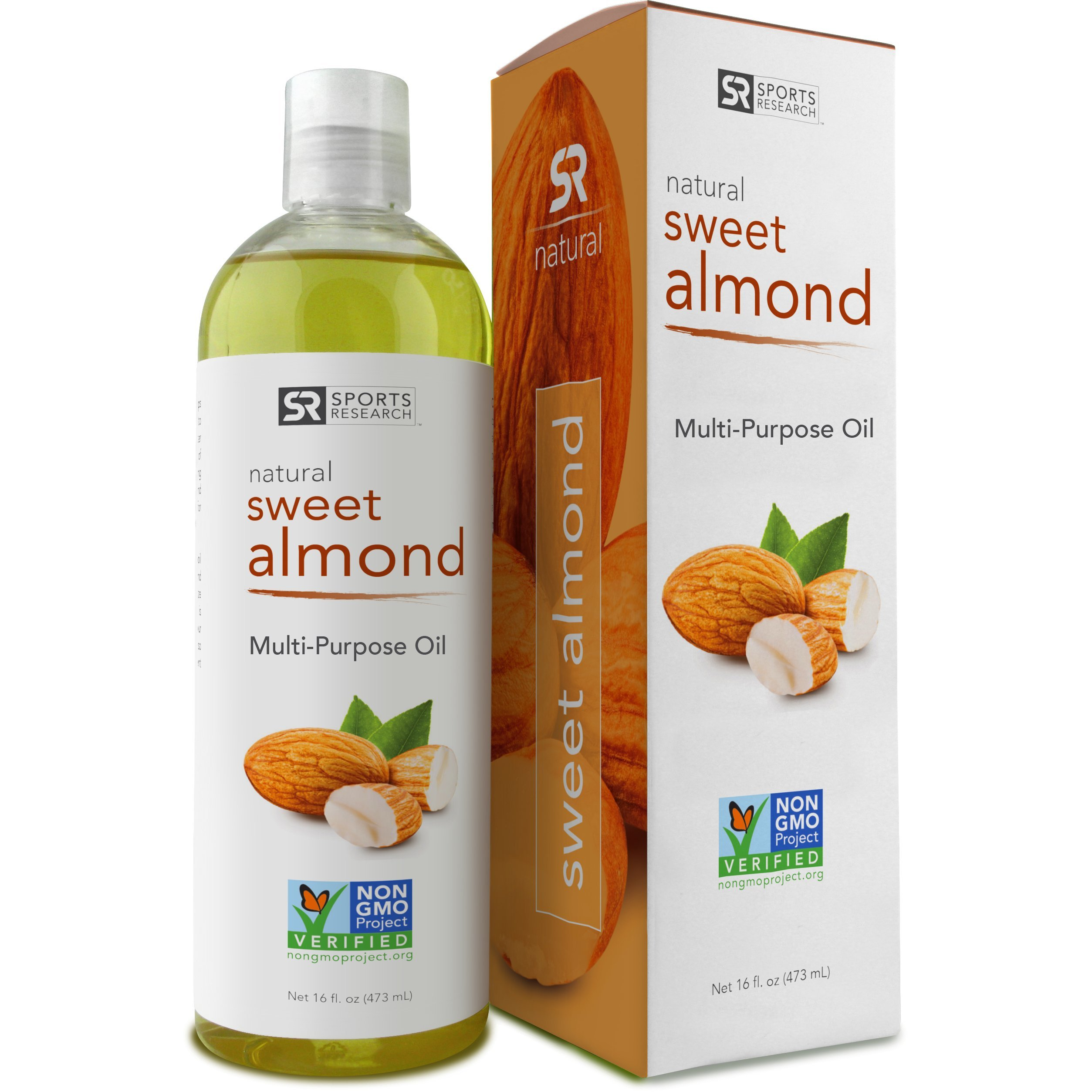 Sweet Almond Oil 16oz. Non- GMO and Hexane Free, 100% Natural Oil for Hair, Skin, Scalp and Massage Carrier Oils. UV Resistant BPA Free Bottle