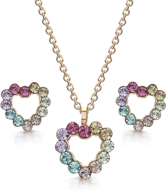 Amberta Joyas - Conjunto de Collar con Colgante a Juego con Pendientes de Botón para Mujer - Plata de Primera Ley 925 con Cristales de Swarovski - Motivo de Corazón - Diferentes Modelos