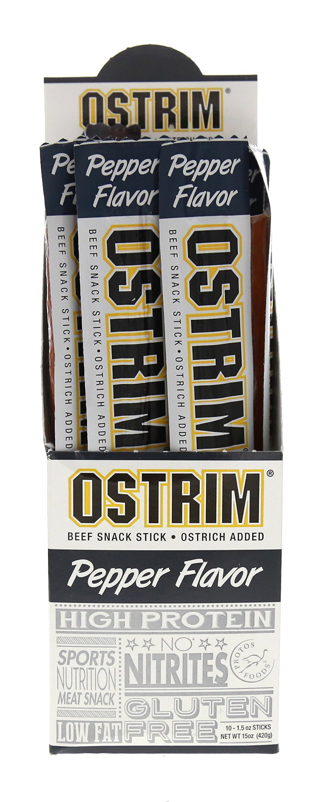 Ostrim High Protein Beef & Ostrich Pepper Snack Sticks, 1.5 Ounce (Pack of 10)