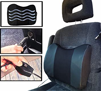 Amazon.com: Black Car Cushion Vibrating Electric Massage Lumbar ...