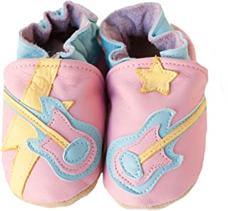 product image for ROCK STAR (pink) Handmade in USA, All-Natural Leather Baby Shoes.