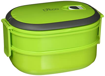 69a9e593c91e Microwavable Lunch Box- Stacking Two Tier Tiffin with Vacuum Seal Lid with  carrying handles- BPA Free