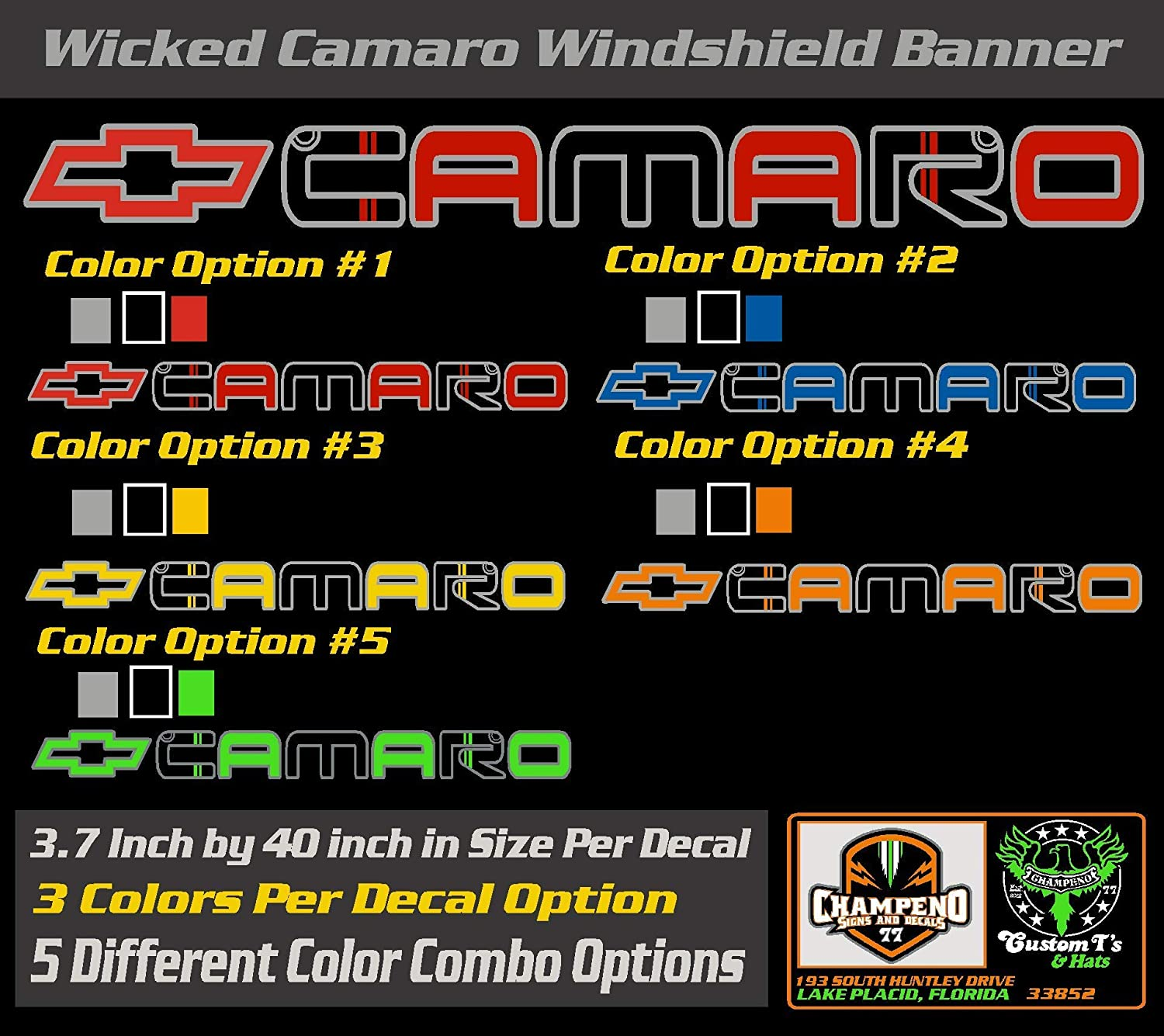 Bow-tie Camaro Windshield Decal//Windshield Banner//Sticker//Graphic//Emblem 6 to 8 Year Outdoor Life One 3.7 inch by 40 inch Multi-Colored with 5 Color Combos to choose from Wicked Chevy Chevrolet